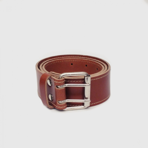 Mister B Leather Belt Stitched Brown Double Thorn
